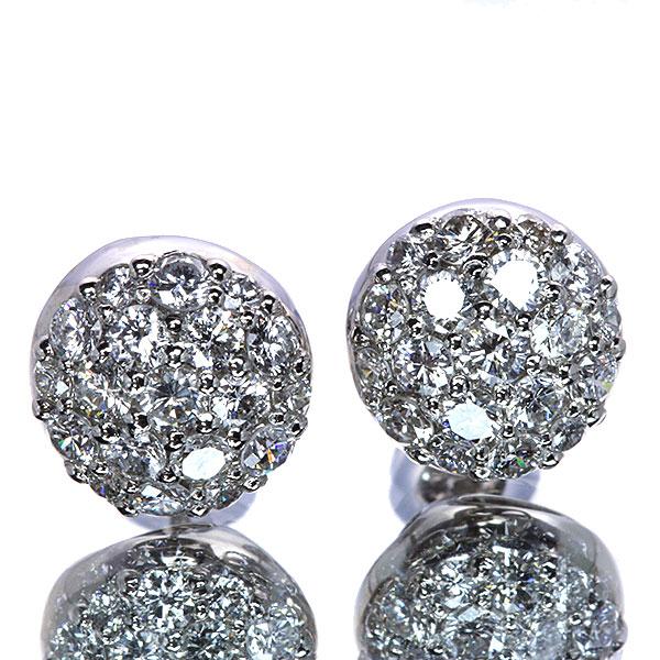 上質石パヴェ ダイヤモンド 1.0カラット 18金ホワイトゴールド K18WG(選べる金種) ピアス/イヤリング 一生もの 鑑別書付 /白・透明(ホワイト)/受注生産品・新品/届30