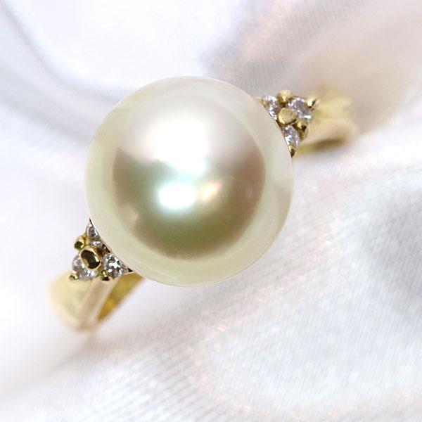 ほんのりゴールデン 南洋真珠/パール 11ミリ 18金イエローゴールド K18 リング/指輪 花珠級の美しさ /黄(イエロー)/【中古】/届5/ギフト プレゼント/送料無料 ギフト/1点もの