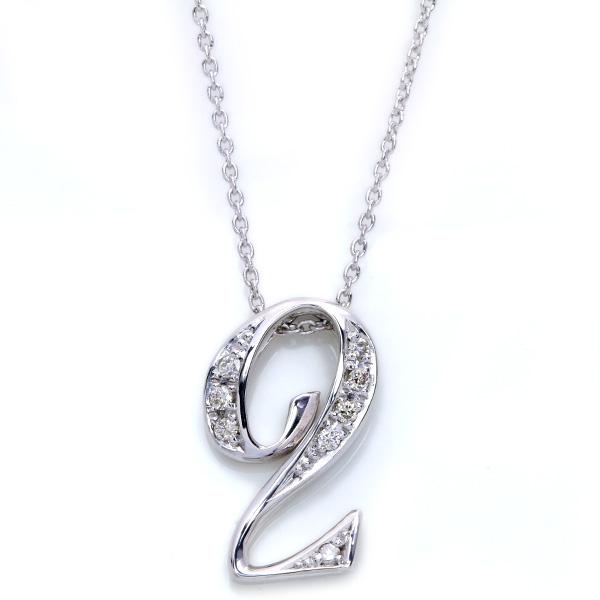 Number(ナンバー・数字)「2・に・two」 ダイヤモンド 0.090カラット ネックレス K18 PG WG 18金(※プラチナ対応可) /白・透明(ホワイト)/受注生産品・新品/届30/送料無料 ギフト