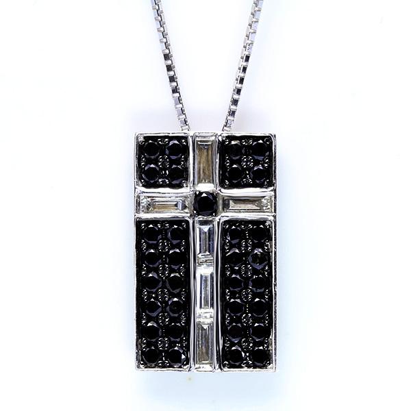 【クーポンで15%OFF&P2倍】メンズタイプ ブラックダイヤモンド 1.0カラット 18金ホワイトゴールド K18WG ネックレス バケットダイヤが描くクロス /黒(ブラック)/アウトレット・新品/届10/送料無料 ギフト