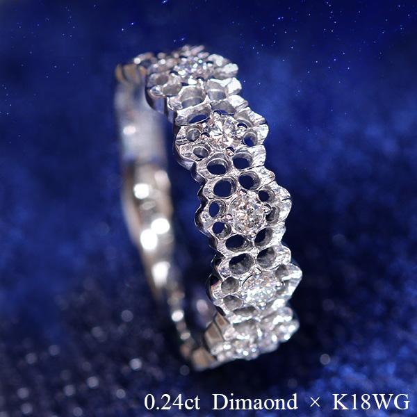 ゴシックレース ダイヤモンド 0.2カラットUP リング/指輪 K18 PG WG 18金 (※プラチナ対応可) 細やかな技術力/白・透明(ホワイト)/受注生産品・新品/届30/送料無料 ギフト