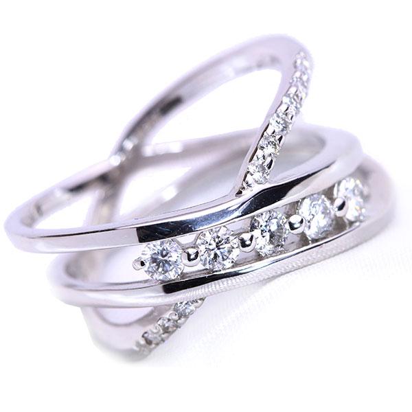 鑑別書付 ラインに輝く ダイヤモンド 0.40カラット リング/指輪 K18 PG WG 18金(※プラチナ対応可) 程よきボリューム /白・透明(ホワイト)/受注生産品・新品/届30/送料無料 ギフト
