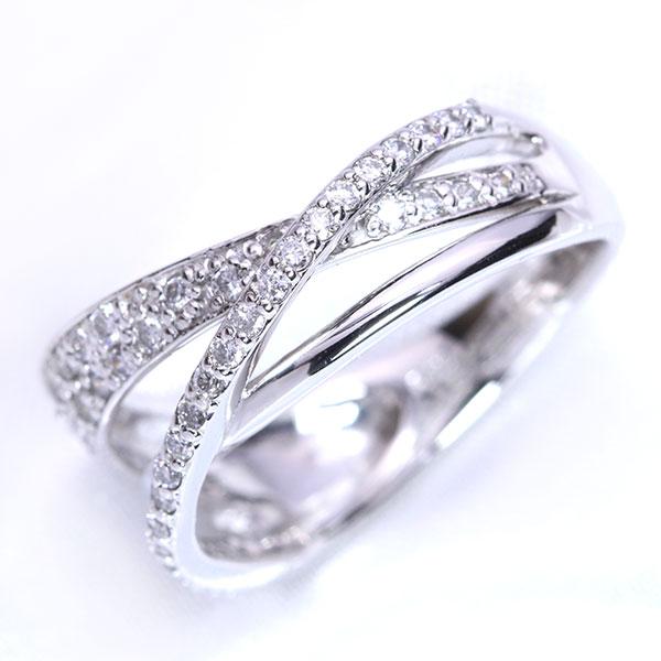 【クーポンで15%OFF&P2倍】パヴェとラインの融合 ダイヤモンド 0.40カラット リング/指輪 18金ホワイトゴールド K18WG/PG 18金(※プラチナ対応可) 当店らしい美 /白・透明(ホワイト)/受注生産品・新品/届30/