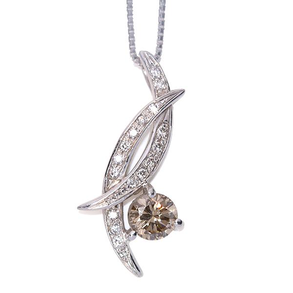 大粒ブラウンカラー ダイヤモンド 0.540カラット・0.12カラット ネックレス 18金ホワイトゴールド K18WG /白・透明(ホワイト)/【中古】/届5/ギフト プレゼント/送料無料 ギフト/1点もの