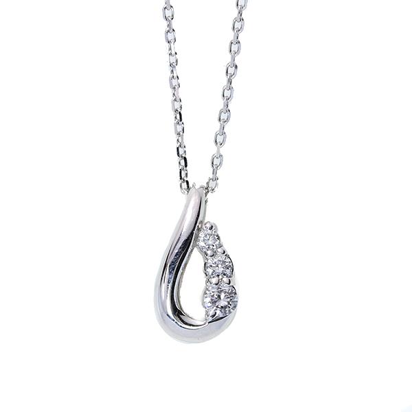 【10%OFFクーポン対象&P2倍】シンプルなしずく ダイヤモンド 0.10カラット ネックレス 肉厚 18金ホワイトゴールド K18WG /白・透明(ホワイト)/【中古】/届5/ギフト プレゼント ギフト1点もの