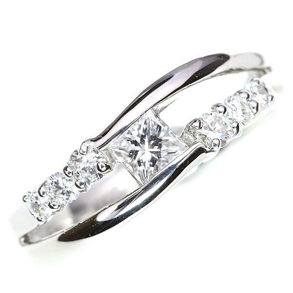 【クーポンで15%OFF&P2倍】プリンセスカットの ダイヤモンド 0.340カラット リング/指輪 プラチナ PT900 /白・透明(ホワイト)/アウトレット・新品/届10/送料無料 ギフト