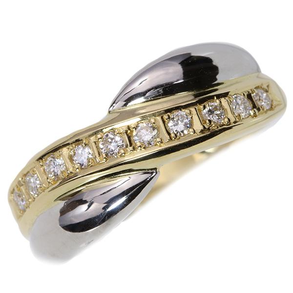 ダイヤモンド 0.20カラット クロス・コンビデザイン リング/指輪 18金イエローゴールド K18/プラチナ PT900 /白・透明(ホワイト)/【中古】/届5/ギフト プレゼント/送料無料 ギフト/1点もの