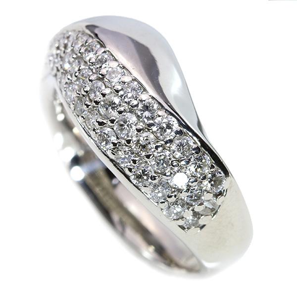 ひねりパヴェ ダイヤモンド 0.750カラット リング/指輪 プラチナ PT900 コロンとボリューム /白・透明(ホワイト)/【中古】/届5/送料無料 ギフト