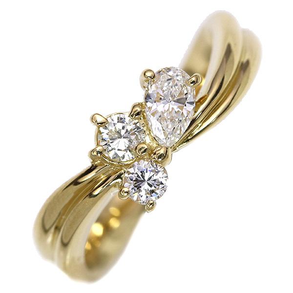 ダイアモンド 4月誕生石 ダイヤモンド 0.460カラット 3ピースが寄り添う リング/指輪 18金イエローゴールド K18 肉厚アーム /白・透明(ホワイト)/【中古】/届5/ギフト プレゼント/送料無料 ギフト/1点もの