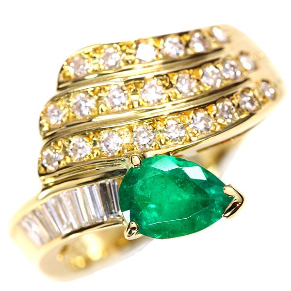 【クーポンで10%OFF&P2倍】大粒 エメラルド リング/指輪 18金イエローゴールド K18 流れるようなたっぷりダイヤ /緑(グリーン)/【中古】/届5/送料無料 ギフト