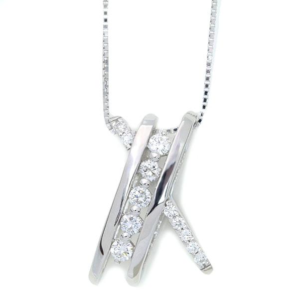 【10%OFFクーポン対象&P2倍】美しきクロスライン ダイヤモンド 0.40カラット ネックレス K18 PG WG 18金(※プラチナPT追加料金で対応可能)/白・透明(ホワイト)/受注生産品・新品/届30/送料無料 ギフト
