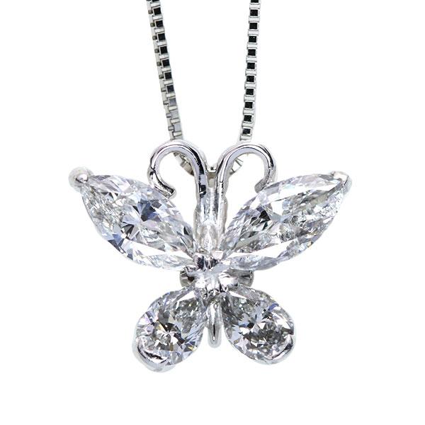 【クーポンで15%OFF&P2倍】バタフライすべてが ダイヤモンド 1.420カラット ネックレス プラチナ PT900/PT850 胸元にインパクトを! /白・透明(ホワイト)/アウトレット・新品/届10/送料無料 ギフト