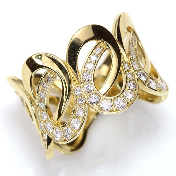 【クーポンで15%OFF&P2倍】ダイヤモンド 0.60カラット リング/指輪 18金イエローゴールド K18(選べる金種) 優美な曲線 /白・透明(ホワイト)/受注生産品・新品/届30/送料無料 ギフト