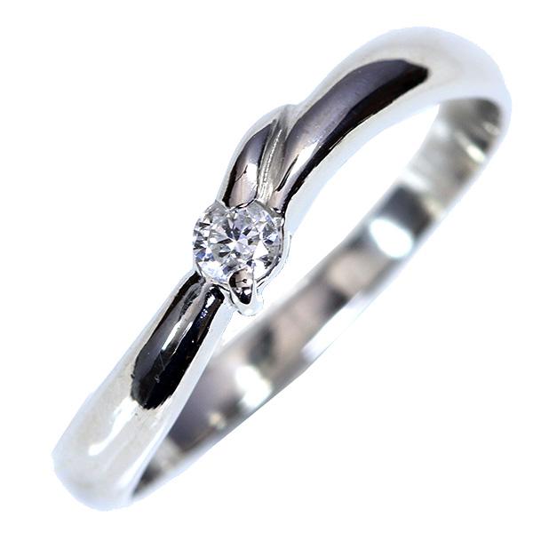 【10%OFFクーポン対象&P2倍】シンプル ダイヤモンド 0.060カラット リング/指輪 プラチナ PT900 ダイヤ一粒 /白・透明(ホワイト)/【中古】/届5/送料無料 ギフト/1点もの