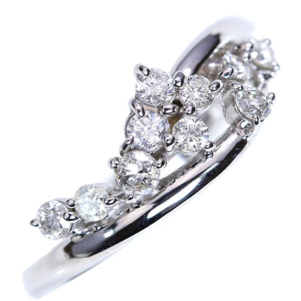 ダイヤモンド 0.40カラット リング/指輪 18金ホワイトゴールド K18WG シンプルさの中に輝くダイヤ /白・透明(ホワイト)/【中古】/届5/送料無料 ギフト