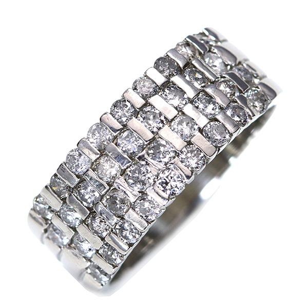 【クーポンで15%OFF&P2倍】ダイヤモンド 1.0カラット 指いっぱいに広がる リング/指輪 プラチナ PT900 幅広 /白・透明(ホワイト)/【中古】/届5/送料無料 ギフト