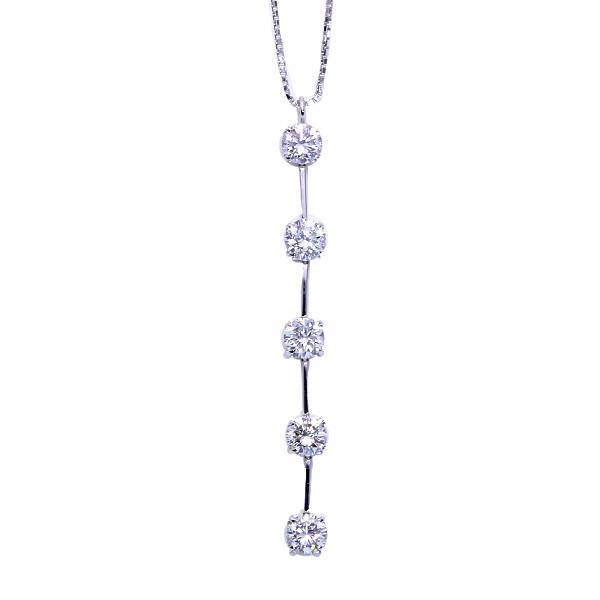 【10%OFFクーポン対象&P2倍】セミロング縦ライン ダイヤモンド 1.0カラット ネックレス PT850 合計1カラット /白・透明(ホワイト)/アウトレット・新品/届10/送料無料 ギフト/1点もの