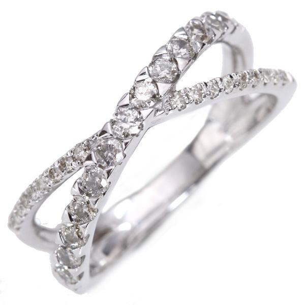 【クーポンで15%OFF&P2倍】上質 ダイヤモンド 0.50カラット リング/指輪 18金ホワイトゴールド K18WG クロスデザイン・くりぬきなし /白・透明(ホワイト)/【中古】/届5/送料無料 ギフト