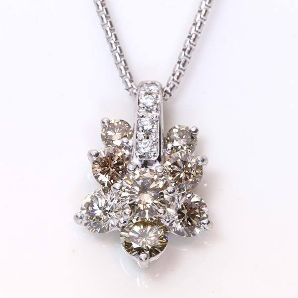 【10%OFFクーポン対象&P2倍】ブラウンカラー ダイヤモンド 1.160カラット ネックレス プラチナ PT900/PT850 照りと透明度高き上質ダイヤ /茶(ブラウン)/アウトレット・新品/届10/ギフト/1点もの