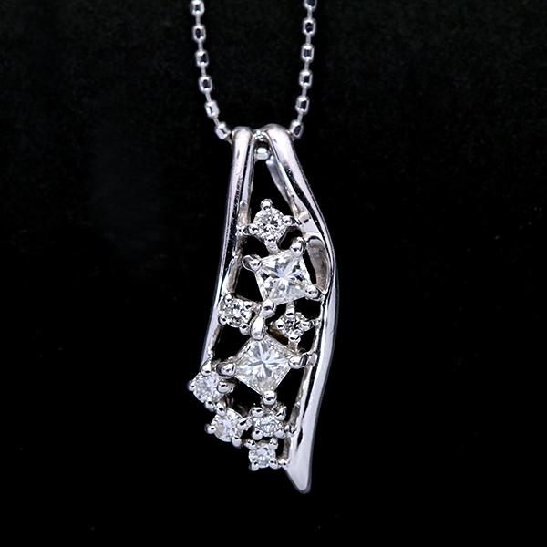 【10%OFFクーポン対象&P2倍】ダイヤモンド 0.30カラット ネックレス 18金ホワイトゴールド K18WG 天の川のような繊細さ /白・透明(ホワイト)/アウトレット・新品/届10/ギフト/1点もの