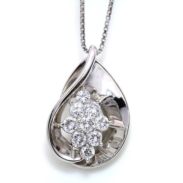 【クーポンで15%OFF&P2倍】ダイヤモンド 1.10カラット ネックレス プラチナ PT900/PT850 鏡面の中に煌く大粒ダイヤ /白・透明(ホワイト)/アウトレット・新品/届10/ ギフト