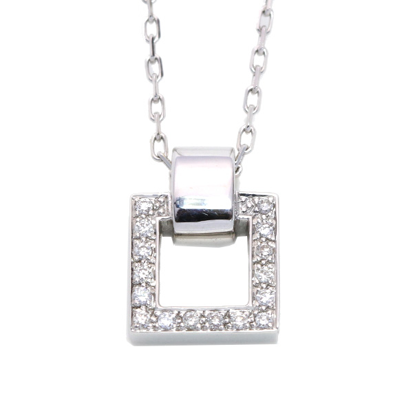 ダイヤモンド 0.160カラット ネックレス 18金ホワイトゴールド K18WG シンプルなスクエアデザイン /青(ブルー)/【中古】/届5/ギフト/1点もの
