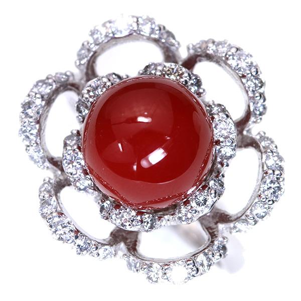 【10%OFFクーポン対象&P2倍】日本産 血赤色 サンゴ 珊瑚 リング/指輪 プラチナ PT900 丸珠の美しいサンゴ/赤(レッド)/アウトレット・新品/届10/ギフト/1点もの