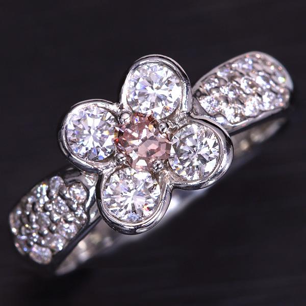 ピンクダイヤモンド 0.150カラット リング/指輪 プラチナ PT900 ソーティング付 AGT FANCY ORANGE PINK SI2 フラワーデザイン /桃(ピンク)/セレクトジュエリー・新品/届10/1点もの