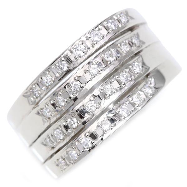 【10%OFFクーポン対象&P2倍】ダイヤモンド 0.20カラット リング/指輪 プラチナ PT900 連なるダイヤの凄み /白・透明(ホワイト)/【中古】/届5/ギフト/1点もの