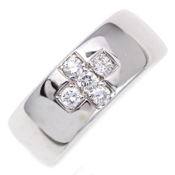 【10%OFFクーポン対象&P2倍】ダイヤモンド 0.250カラット リング/指輪 18金ホワイトゴールド K18WG 鏡面にきらめくクロスダイヤ /白・透明(ホワイト)/【中古】/届5/ギフト/1点もの