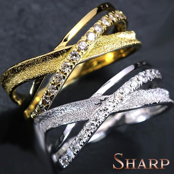 【クーポンで15%OFF&P2倍】sharp シャープデザイン ダイヤモンド 0.18カラット リング/指輪 K18 PG WG 18金(※プラチナPT追加料金で対応可) 受注生産品・新品/届30/ ギフト