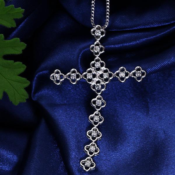 ダイヤモンド 0.510カラット ネックレス 18金ホワイトゴールド K18WG 大振りクロスモチーフ /白・透明(ホワイト)/アウトレット・新品/届10/ ギフト