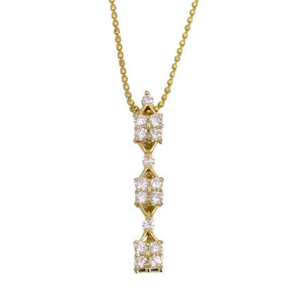 【10%OFFクーポン対象&P2倍】ダイヤモンド 0.50カラット ネックレス 18金イエローゴールド K18 フラワーの縦ライン・上質ダイヤ /白・透明(ホワイト)/アウトレット・新品/届10/ギフト/1点もの