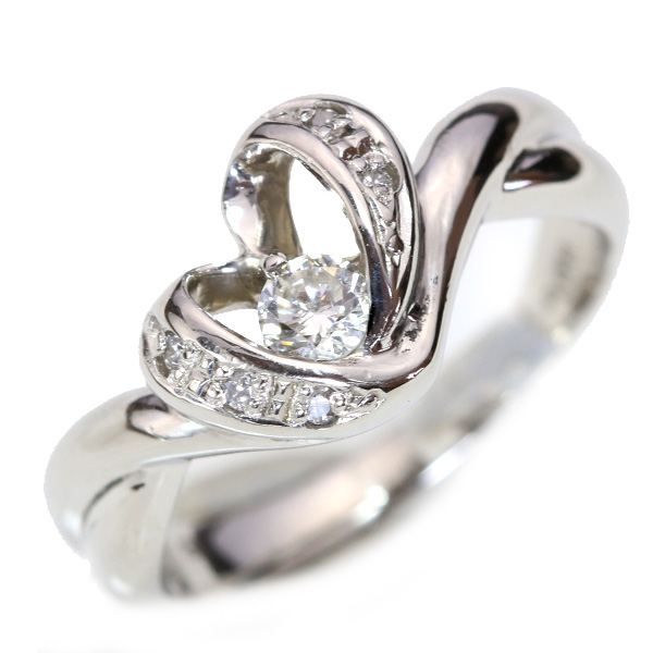 【10%OFFクーポン対象&P2倍】ダイヤモンド 0.180カラット リング/指輪 プラチナ PT900 リングアームから描かれるハート /白・透明(ホワイト)/【中古】/届5/ギフト/1点もの