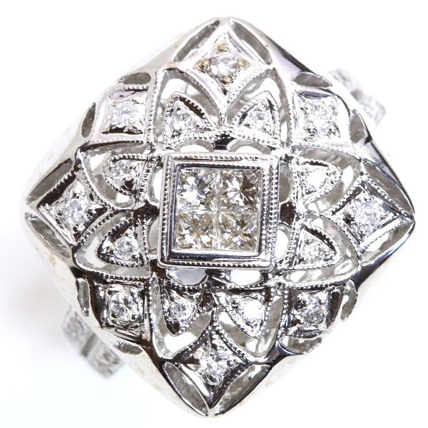 ダイヤモンド 0.520カラット レースデザイン リング/指輪 18金ホワイトゴールド K18WG ミステリー・セット /白・透明(ホワイト)/【中古】/届5/ ギフト