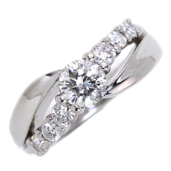 【10%OFFクーポン対象&P2倍】ラージサイズ ダイヤモンド 0.583カラット リング/指輪 プラチナ PT900 合計0.94カラットの煌き /白・透明(ホワイト)/【中古】/届5/ギフト/1点もの