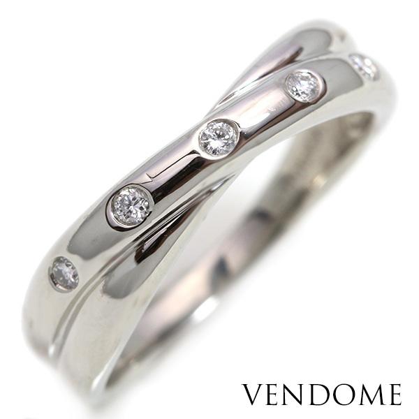 【10%OFFクーポン対象&P2倍】VENDOMEヴァンドーム ダイヤモンド リング/指輪 プラチナ PT900 クロスデザイン /白・透明(ホワイト)/【中古】/届5/ギフト/1点もの
