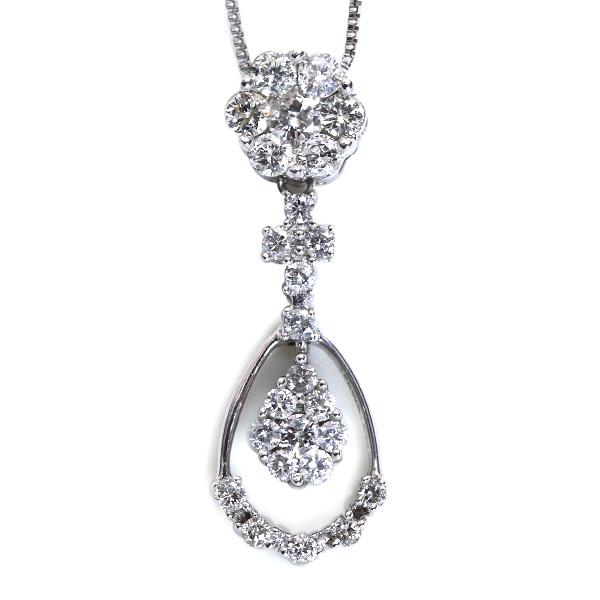 上品なデザイン ダイヤモンド 0.50カラット ネックレス 18金ホワイトゴールド K18WG /白・透明(ホワイト)/アウトレット・新品/届10/ ギフト