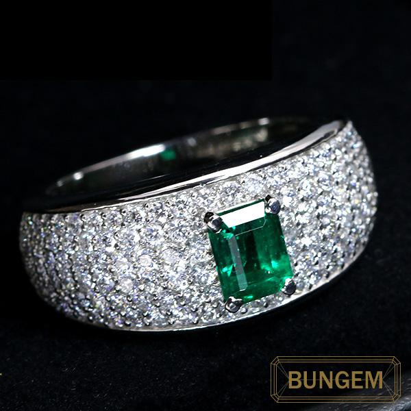【10%OFFクーポン対象&P2倍】コロンビア産 エメラルド 0.730カラット リング/指輪 PT900 VS級のダイヤパヴェ /緑(グリーン)/セレクトジュエリー・新品/届10/ラックジュエル luckjewel/1点もの
