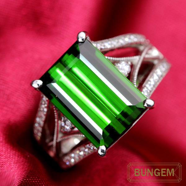 【クーポンで10%OFF&P2倍】上質の美し過ぎるグリーン トルマリン 8.130カラット リング/指輪 プラチナ PT900 /緑(グリーン)/セレクトジュエリー・新品/届10/ラックジュエル luckjewel/