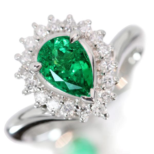 【10%OFFクーポン対象&P2倍】エメラルド リング/指輪 PT900 ダイヤ取り巻き 照りと高き透明度・大粒ペアシェイプ 鑑別書付 /緑(グリーン)/アウトレット・新品/届10/ギフト/1点もの