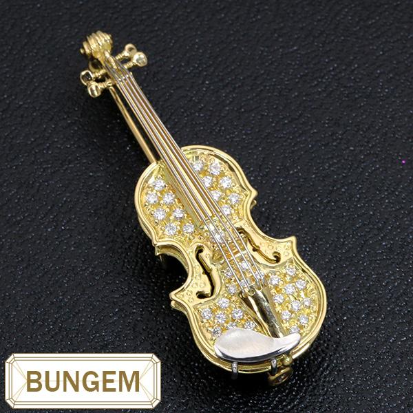 楽器GAKKI ヴァイオリン(バイオリン violin) ダイヤモンド0.44ctブローチ K18/プラチナ PT900 上質ダイヤが違いを見せつける /黄(イエロー)/セレクトジュエリー・受注生産品/届10/