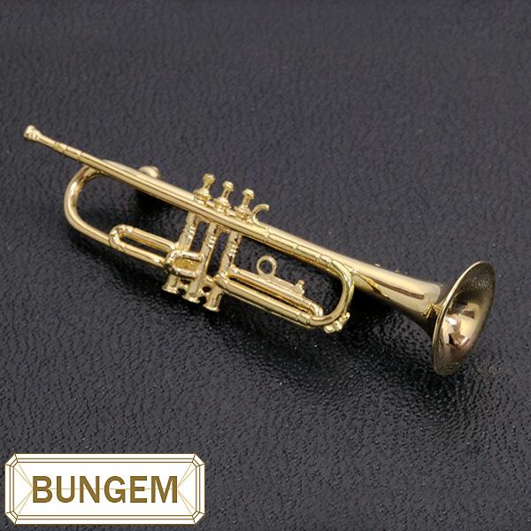 【10%OFFクーポン対象&P2倍】楽器GAKKI トランペット(trumpet) ブローチ 18金イエローゴールド K18 細く繊細なラインが360度 /黄(イエロー)/セレクトジュエリー・新品/届10/ラックジュエル luckjewel/1点もの