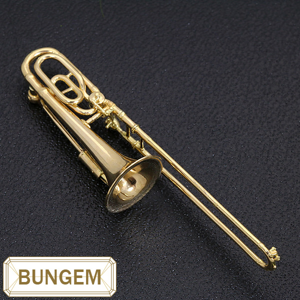 【10%OFFクーポン対象&P2倍】楽器GAKKI トロンボーン( trombone) ブローチ K18 繊細ラインとゴールドの鏡面 /黄(イエロー)/セレクトジュエリー・新品/届10/1点もの