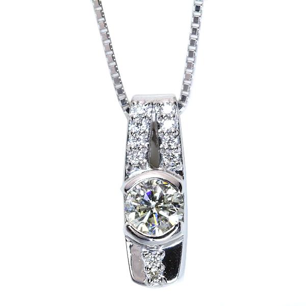 【10%OFFクーポン対象&P2倍】大粒で照り豊かなほんのりイエロー ダイヤモンド 0.410カラット ネックレス 18金ホワイトゴールド K18WG /白・透明(ホワイト)/アウトレット・新品/届10/1点もの