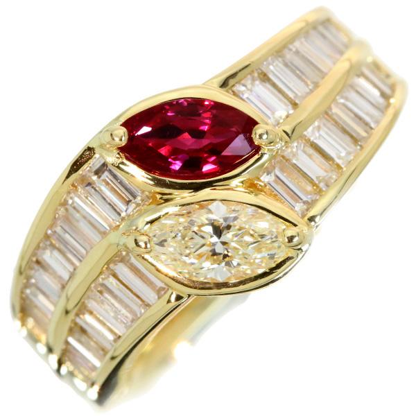【10%OFFクーポン対象&P2倍】上質・ピジョンブラッド系ルビー 上質VSレベルのダイヤモンド合計1.66ct リング/指輪 18金イエローゴールド K18 /赤(レッド)/アウトレット・新品/届10/1点もの