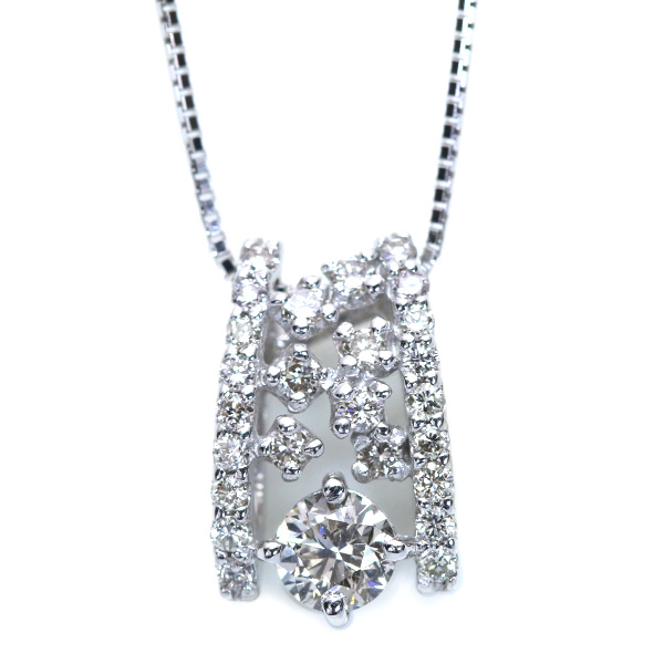 【10%OFFクーポン対象&P2倍】トータル0.6ct ダイヤモンド ネックレス 18金ホワイトゴールド K18WG 一粒の存在感と煌めき /白・透明(ホワイト)/アウトレット・新品/届10/1点もの