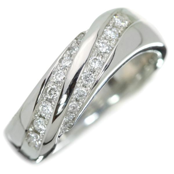 【10%OFFクーポン対象&P2倍】ダイヤモンド リング/指輪 プラチナ900 PT900 鏡面肉厚 丸みに流れる上質ダイヤ /白・透明(ホワイト)/【中古】ブランドBrand/届5/1点もの
