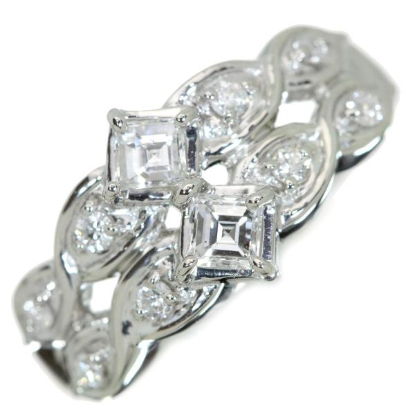 【クーポンで15%OFF&P2倍】ダイヤモンド リング/指輪 プラチナ900 PT900 角ダイヤ主役 重ねつけのような2連 /白・透明(ホワイト)/【中古】/届5/