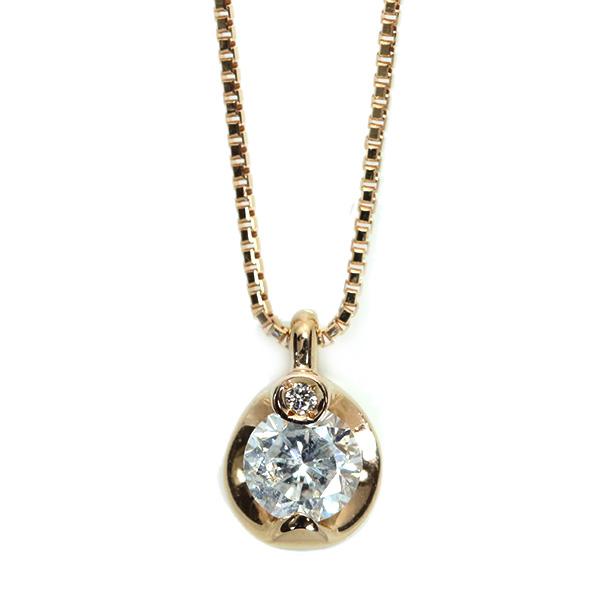 【10%OFFクーポン対象&P2倍】ダイヤモンド ネックレス 18金ピンクゴールド K18PG 一粒ダイヤ プチ 透明度大 /白・透明(ホワイト)/アウトレット・新品/届10/1点もの